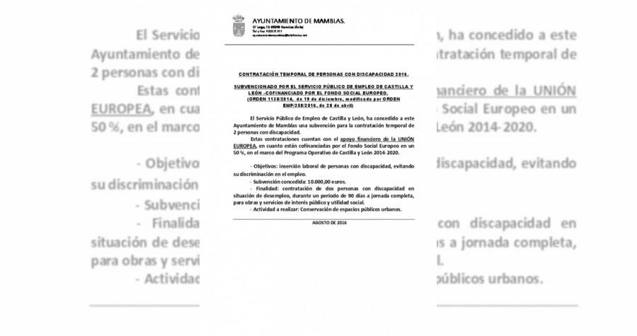 Contratacion temporal discapacitados 2016